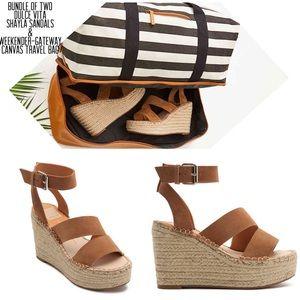 Dolce Vita Saddle Suede Sandals+travel Bag Bundle